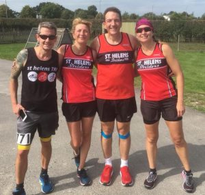 From left to right; Stalwarts Neil Hunter, Sharon O'Connel, David Briscoe and Joanne Jackson. (At The South Cheshire 20 Miler)